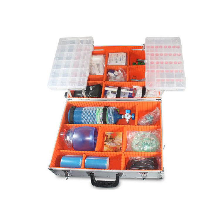 Emergency aluminum first aid kit with oxygen bottle